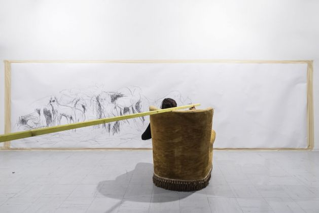 Davide Serpetti, Il disegno di Venerdì l'indigeno, ESTEMPORANEA PLAY. Installation view at Centro per l'Arte Contemporanea Trebisonda, Perugia, 2018. Photo OKNO studio