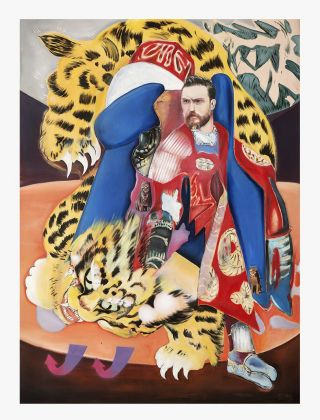 Davide Serpetti, Magic Carpet Tiger (Samurai With Blue Armchair), 2018