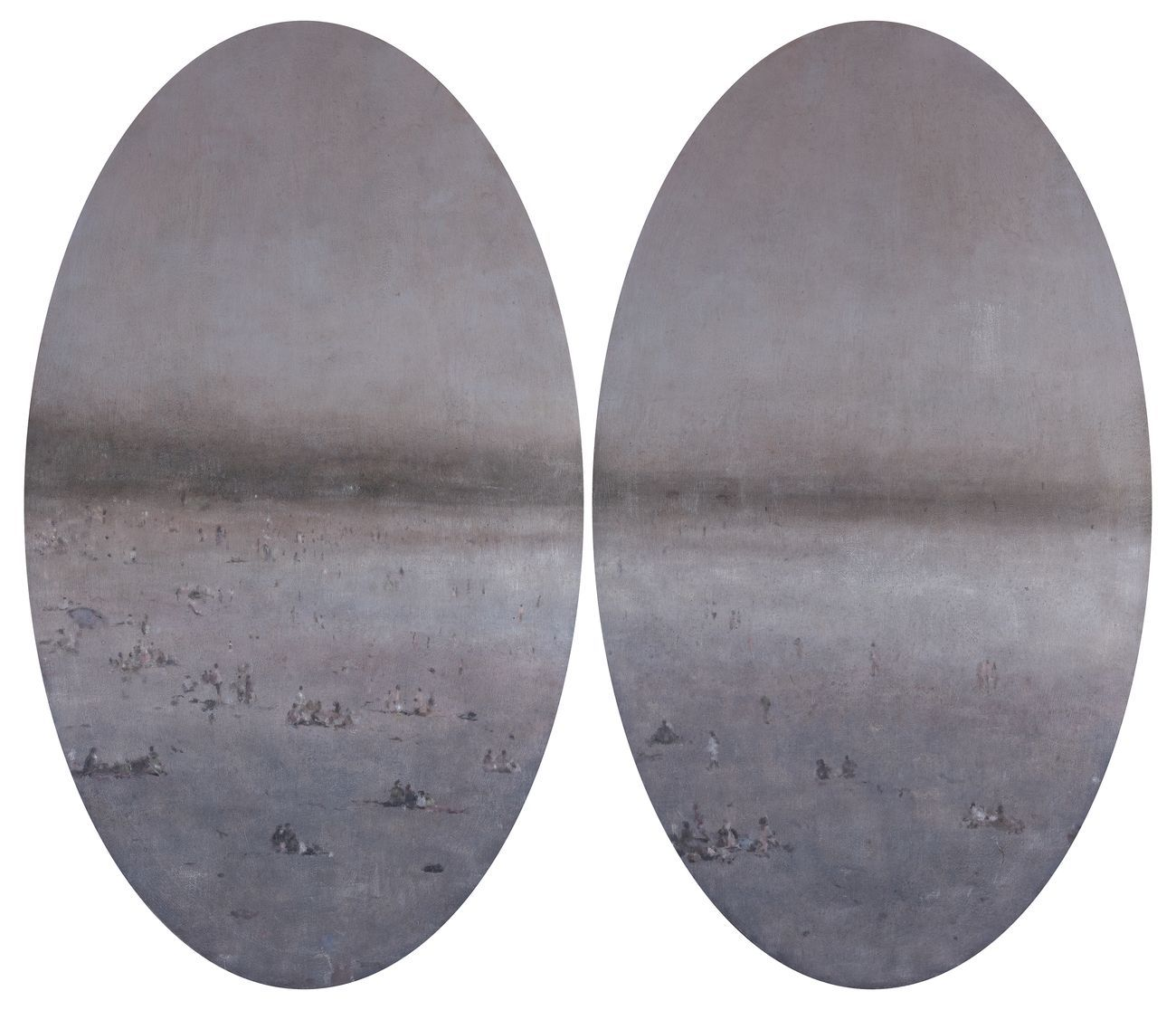 Enrico Tealdi, Le voci che non si sentono più, 2019, tecnica mista su carta foderata su tela, dittico cm 100x120