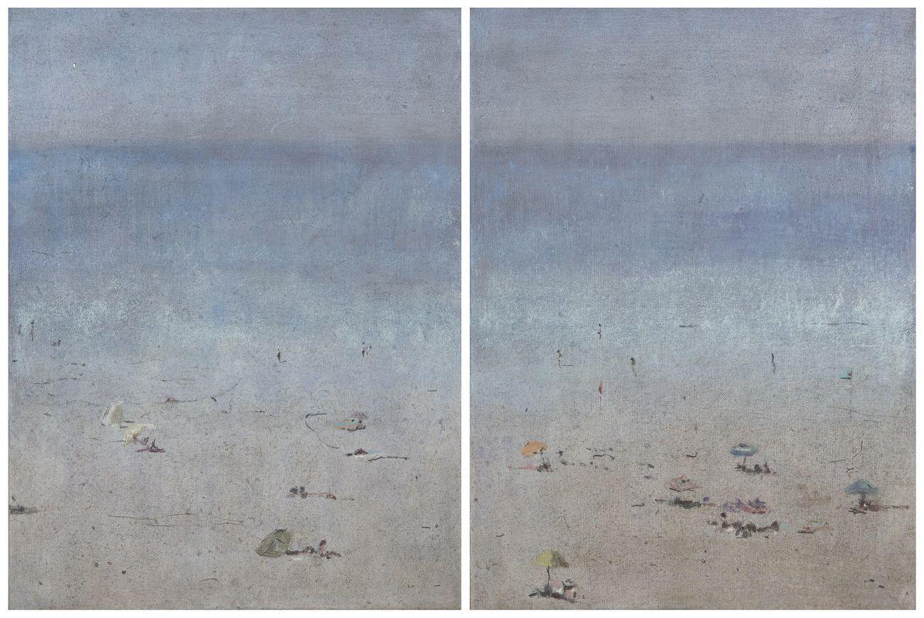 Enrico Tealdi, Un'aria ipnotica, 2017, tecnica mista su carta foderata su tela, cm 40x60