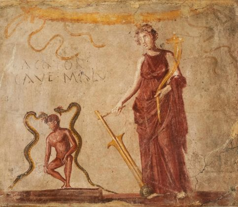 Fresco wall panel showing Isis Fortuna protecting a man flanked by the agathodaemones (protective serpents) AD 40–79Pompeii (c) Museo Archeologico Nazionale di Napoli