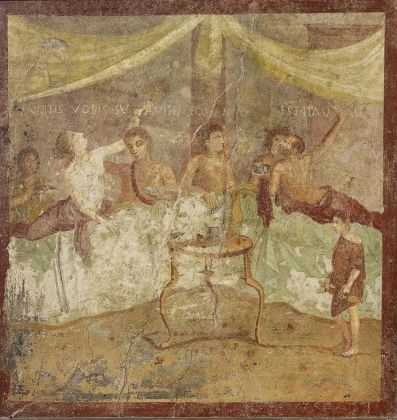 Fresco wall panel showing a dinner party AD 40–79Pompeii, House of the Triclinium (c) Museo Archeologico Nazionale di Napoli