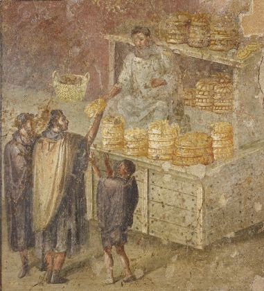 Fresco wall panel showing the distribution of bread AD 40–79 Pompeii, House of the Baker(c) Museo Archeologico Nazionale di Napoli