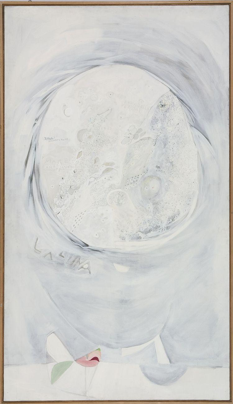 Gastone Novelli, La luna e i suoi imitatori, 1966, tecnica mista su tela 280 x 160 cm, collezione privata