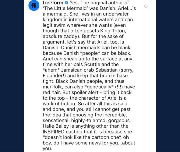 Il messaggio sulla Sirenetta nera, postato dal canale Disney FreeForm