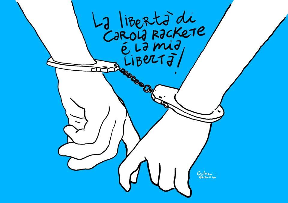 Illustrazione per Carola Rackete by Gianluca costantini, per Left