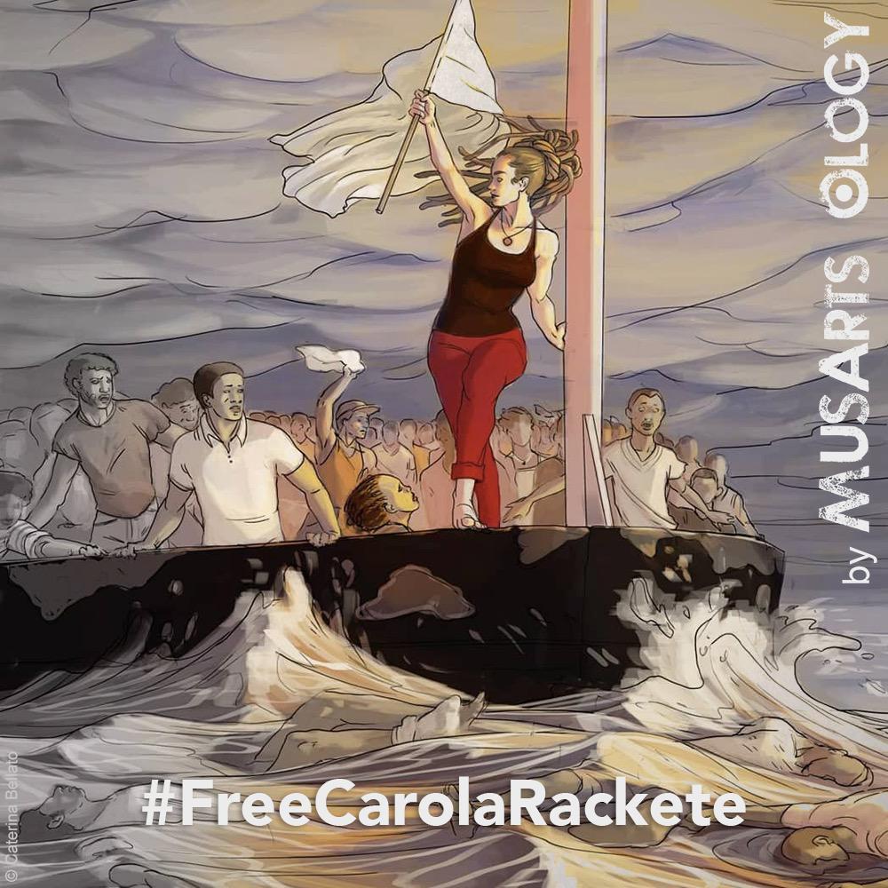 Illustrazione per Carola Rackete by MusArts Ology, laboratorio di idee contro le discriminazioni