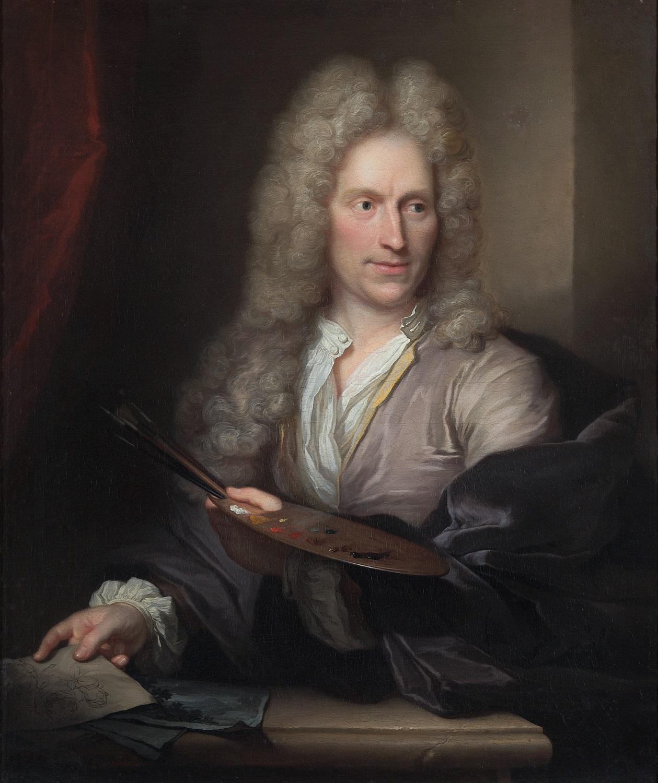 Il pittore olandese Jan van Huysum in un ritratto di Arnold Boonen, 1720 ca., olio su tela, 99.2 x 84 cm
