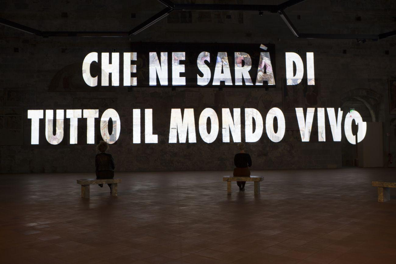 Jenny Holzer. Tutta la verità (The Whole Truth). Installation view at GAMeC, Sala delle Capriate, Bergamo 2019 © 2019 Jenny Holzer. Photo Michele Stroppa