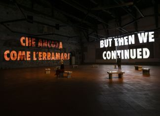 Jenny Holzer. Tutta la verità (The Whole Truth). Installation view at GAMeC, Sala delle Capriate, Bergamo 2019 © 2019 Jenny Holzer. Photo Michele Stroppa