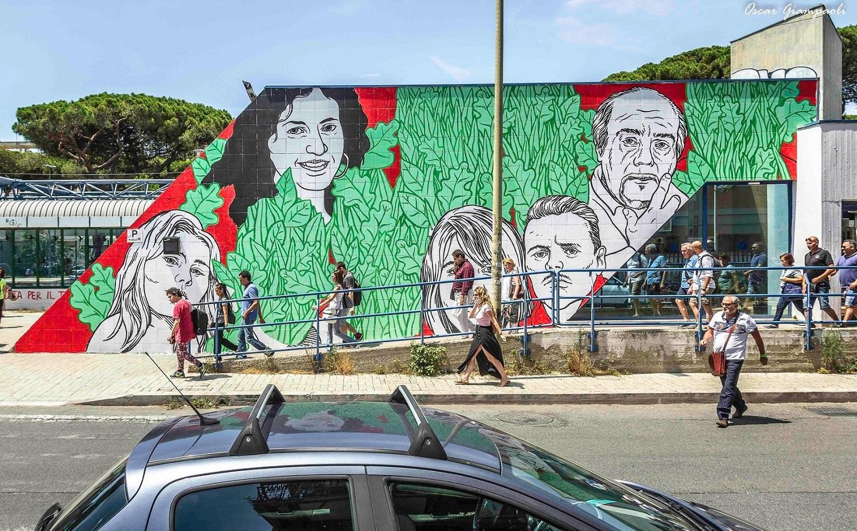 Lucamaleonte a Ostia, il muro cancellato. Foto di Oscar Giampaoli