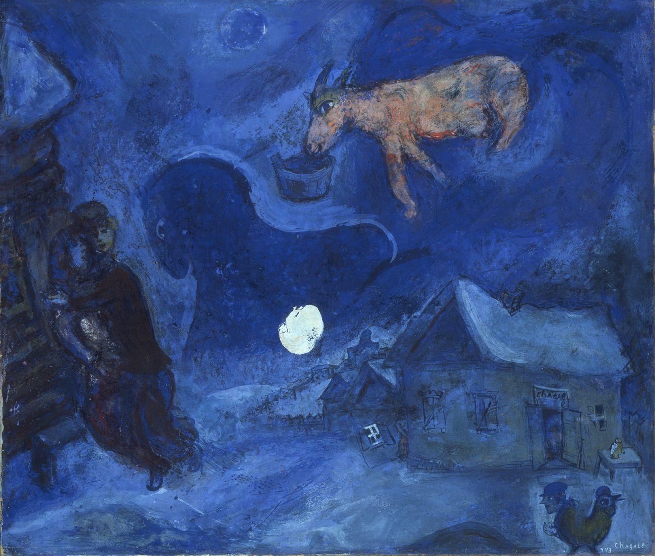 Marc Chagall, Dans mon pays, 1943, guazzo e tempera su carta applicata su tela, cm 57,2x49,7, GAM – Galleria Civica d'Arte Moderna e Contemporanea, Torino