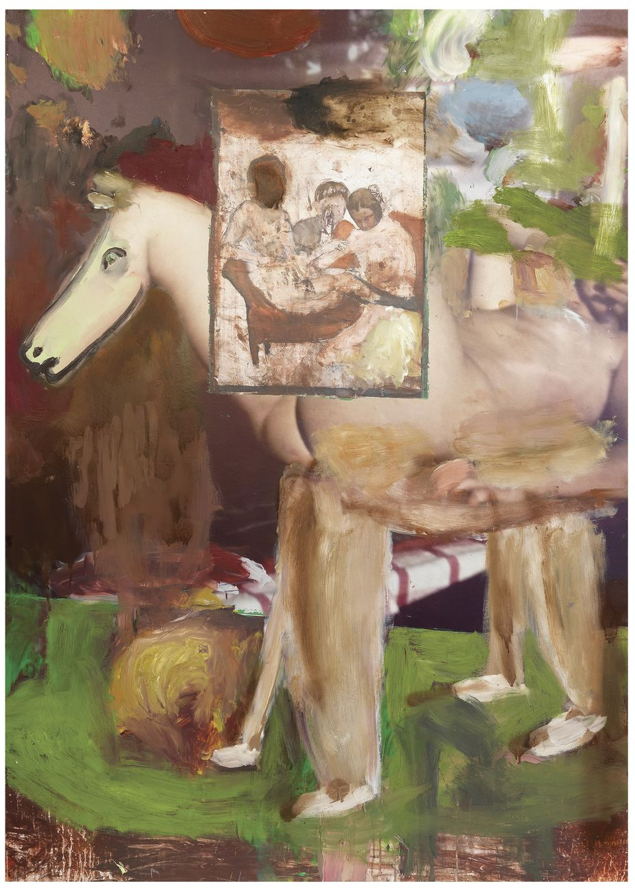 Michele Bubacco, Still life with Trojan horse in the room on fire, 2018, oil on printed paper mounted on aluminium, 140x100 cm. Photo Anna Lott Donadel