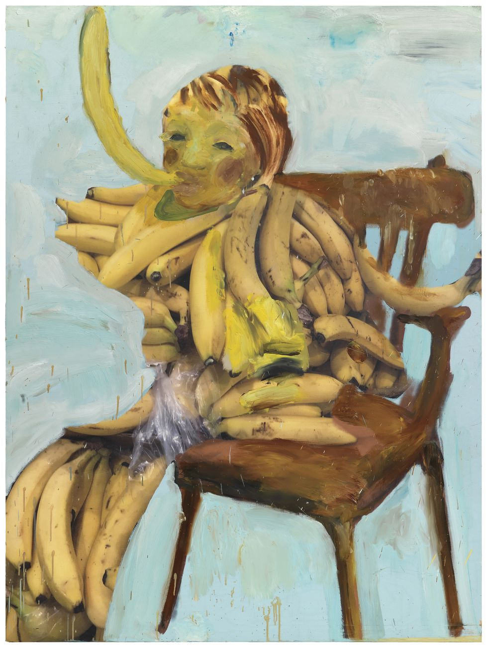 Michele Bubacco, Young musician plays his trumpet sitting on a chair, 2018, oil and print on wood, 173,5x130 cm. Photo Anna Lott Donadel