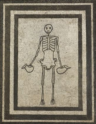 Monochrome mosaic panel of a skeleton holding two wine jugs AD 1–50Pompeii, House of the Vestals (c) Museo Archeologico Nazionale di Napoli