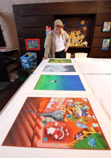Mordillo durante l'apertura della mostra presso il Museo Luzzati di Genova, 2011. Foto Fabio Bussalino