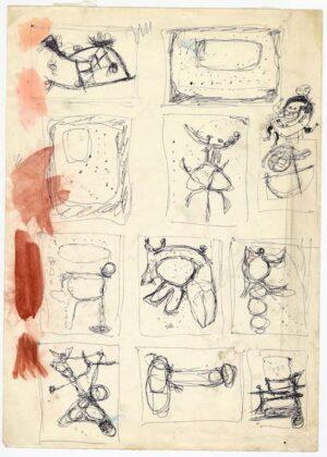 Undici studi per Concetto Spaziale s.d. (1954-57) mm.350x250; penna a sfera e acquarello su carta bianca 'patinatino' a grana fine 5600 Parma, CSAC, inv. A000251S (CAT. RAG. OPERE SU CARTA, III, n.56 DSP 16) Copyright: CSAC, Parma
