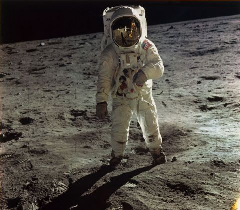 Neil Armstrong, NASA Apollo 11. Buzz Aldrin Walking on the Surface of the Moon near a Leg of the Lunar Module, 1969, printed later