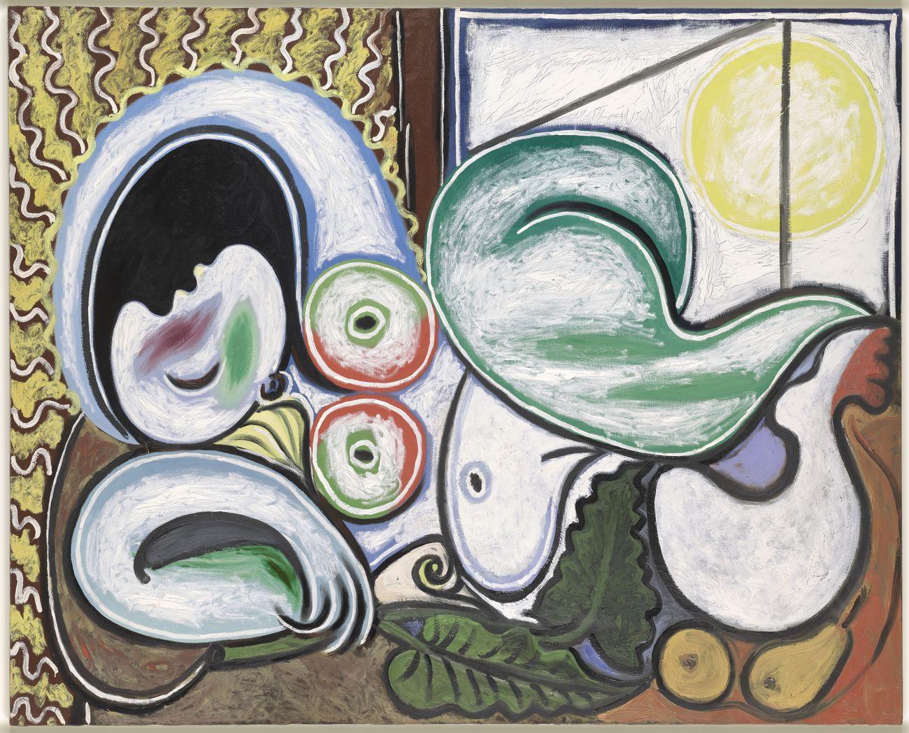 """Pablo Picasso, Nu couché, Boisgeloup, April 4, 1932, oil on canvas, 51 1/5"""" x 63 3/4"""", Musée national Picasso-Paris. Dation of the Estate of the Artist, 1979 © RMN-Grand Palais / Adrien Didierjean © Succession Picasso 2019"""