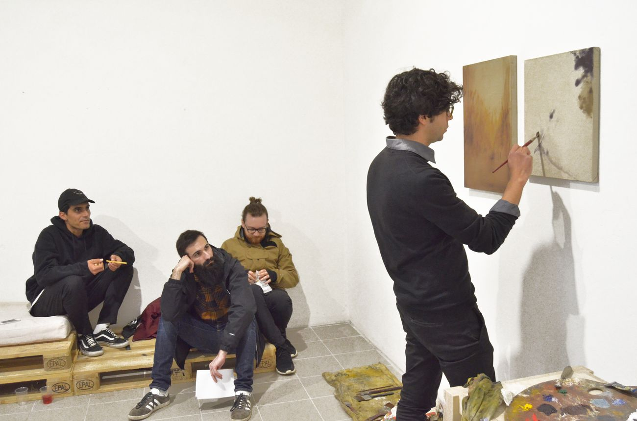 Quarto appuntamento di OPENWORK, a focus on paintings Giulio Saverio Rossi Saverio Verini; Giulio Saverio Rossi al lavoro; SenzaBagno, Pescara, 2019, photo Pierluigi Fabrizio