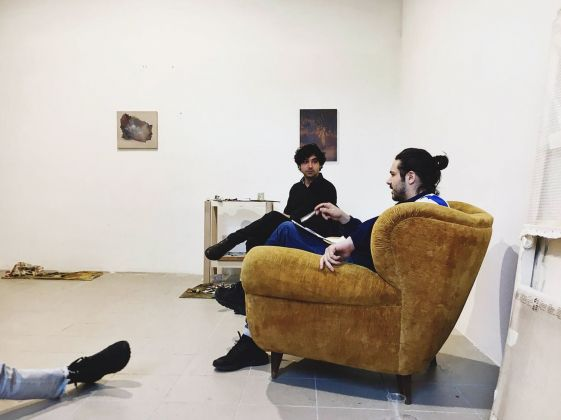 Quarto appuntamento di OPENWORK, a focus on paintings Giulio Saverio Rossi Saverio Verini; talk; SenzaBagno, Pescara, 2019, photo Pierluigi Fabrizio