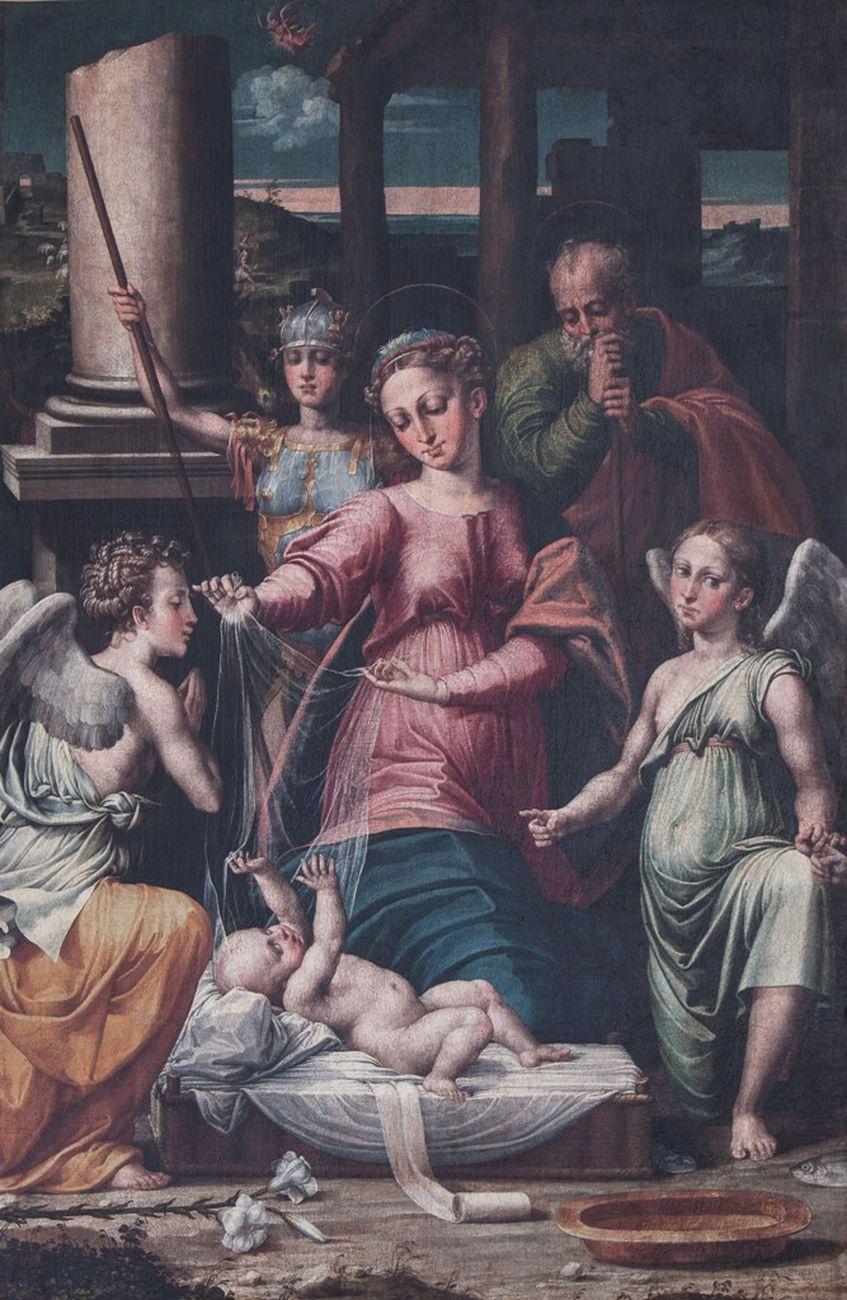 Raffaellino del Colle, Madonna del Velo con gli Arcangeli Gabriele, Raffaele e Michele, 1531-32, Urbania, Museo Leonardi