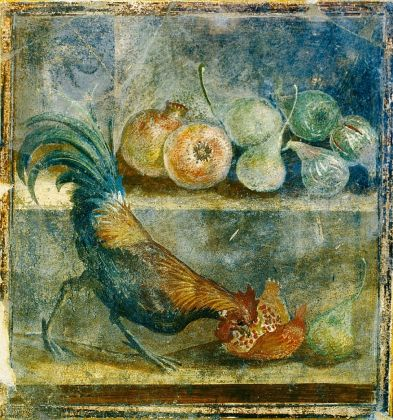 Still life wall panel fresco showing a cockerel pecking at figs, pears and pomegranates AD 45–79Pompeii, House of the Chaste Lovers (c) Parco Archeologico di Pompeii
