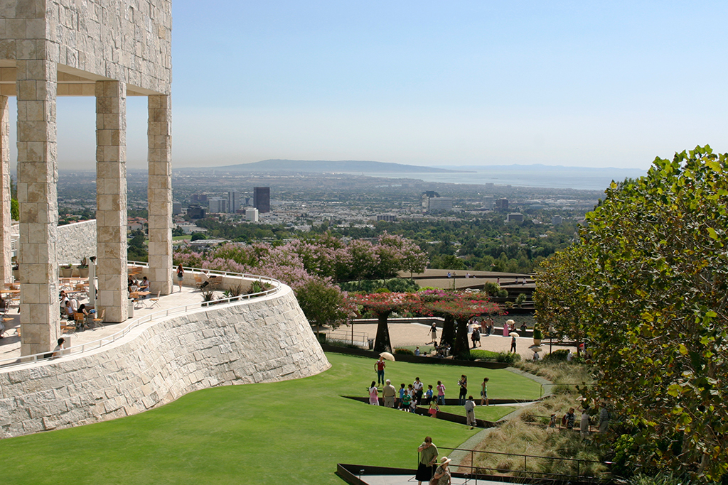 The Central Garden lawn and J. Paul Getty Museum Garden Terrace Cafe with city view