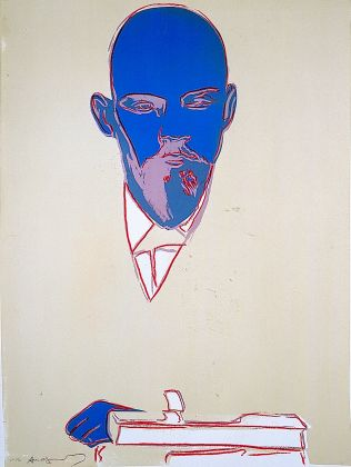 ANDY WARHOL Lenin 1986/7 silkscreen on paper blue head Monoprint. Courtesy Phillips
