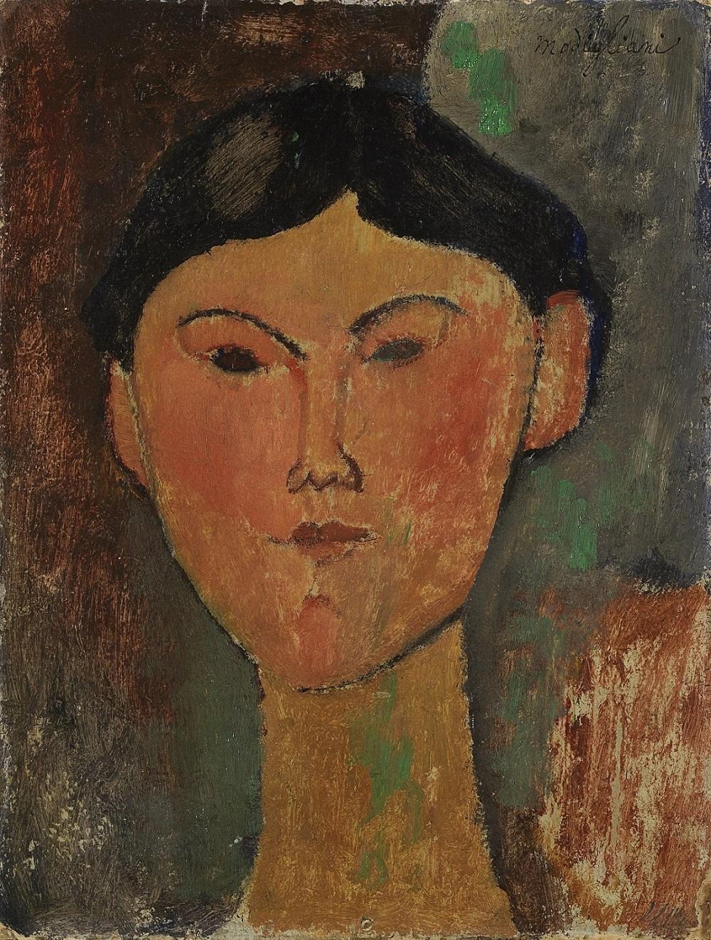 Amedeo Modigliani, Beatrice Hastings, 1915, olio su cartone riportato su tavola, cm 35x26,5Amedeo Modigliani, Beatrice Hastings, 1915, olio su cartone riportato su tavola, cm 35x26,5. Museo del Novecento, Collezione Jucker, Milano