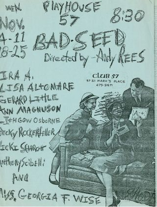 Andy Rees. Bad Seed. Flyer del Club 57 di New York