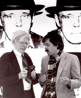 Andy Warhol and Bernd Klüser, 1980, during the exhibition Beuys by Warhol. Photo Angela Neuke. Courtesy Galerie Klüser