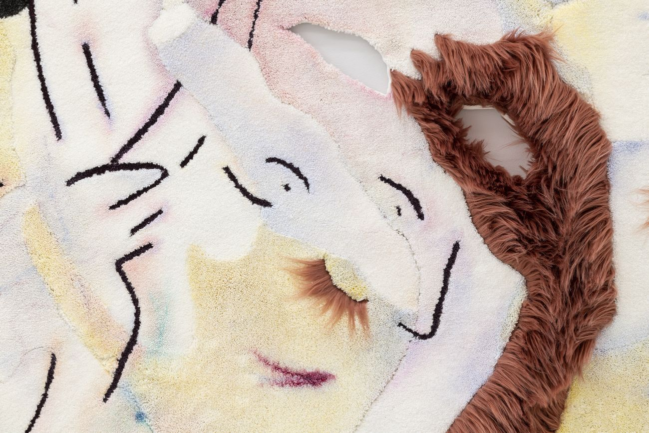 Bea Bonafini, She told me a story as long as her lashes, 2019, detail. Oil on mixed carpet inlay, 200x140 cm