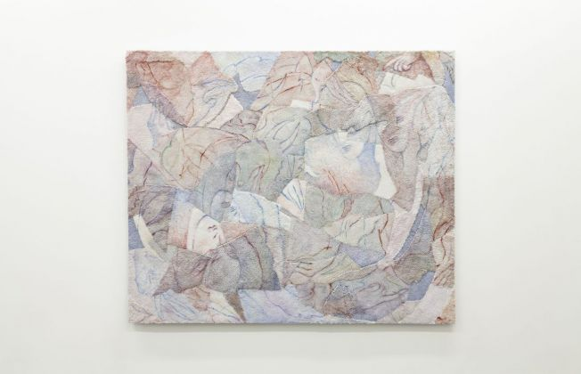 Bea Bonafini, Shed Shreds, 2018. Oil on mixed inlayed carpets, 134x164 cm