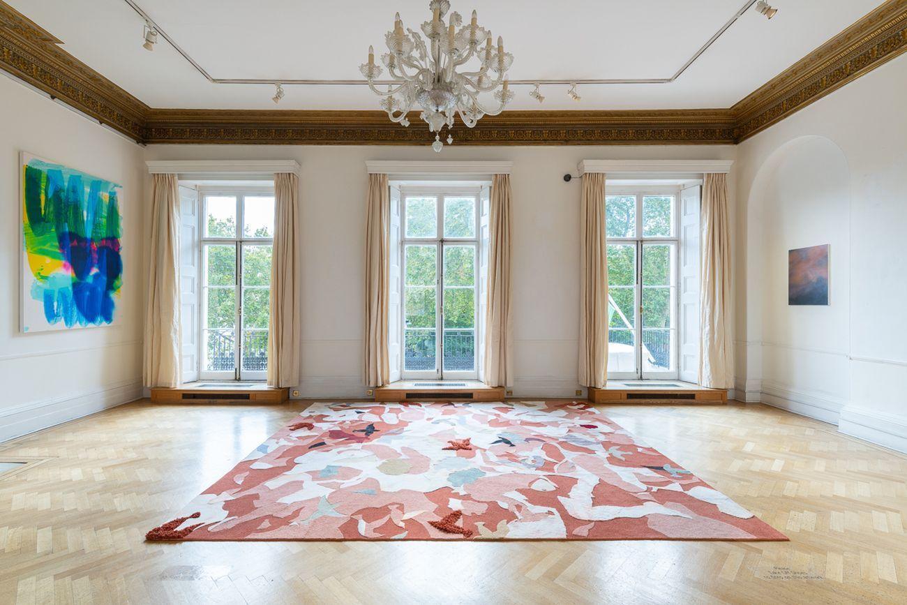 Bea Bonafini, Slick Submissions, 2018. Pastel on wool and nylon carpet inlay, 426x366 cm
