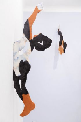 Bea Bonafini, Tomb Diver II, 2018. Pastel on mixed carpet inlay and wood, 210x70 cm