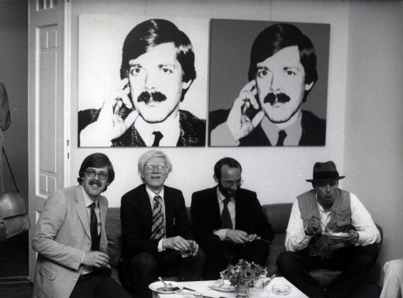 Bernd Klüser, Andy Warhol, Hermann Wünsche and Joseph Beuys, 1980. Photo Angela Neuke. Courtesy Galerie Klüser