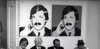 Bernd Klüser, Andy Warhol, Hermann Wünsche and Joseph Beuys, 1980, photo Angela Neuke_ Courtesy Galerie Klüser