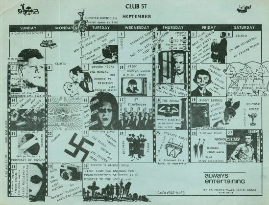 Calendario del Club 57 di New York, settembre 1980