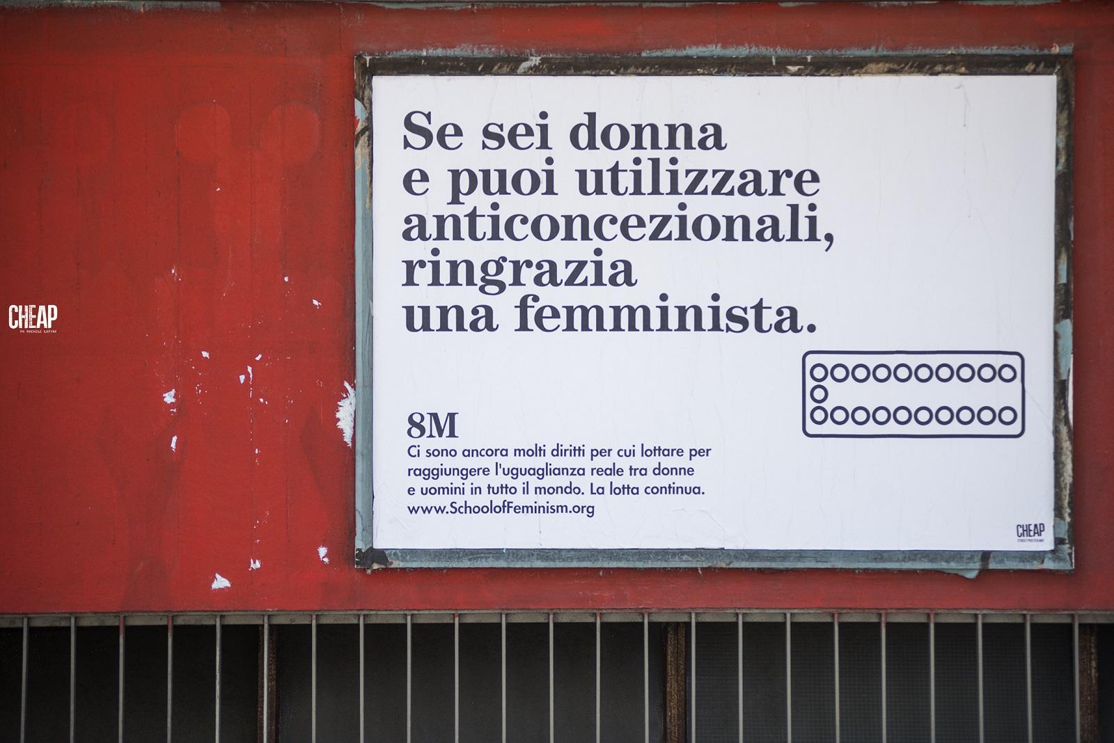 Campagna sul femminismo del colettivo Cheap, Bologna 2019. Foto di Michele Lapini