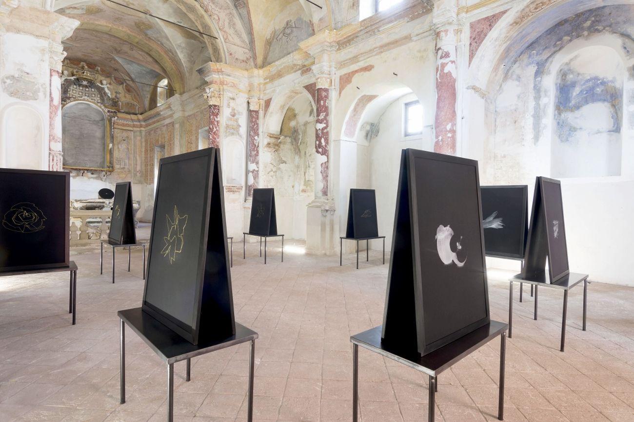 Cosimo Veneziano, Biomega Multiverso. Chiesa di San Sebastiano in Borgo, Tenuta Cucco, Serralunga d'Alba 2019, installation view. Photo Matilde Martino