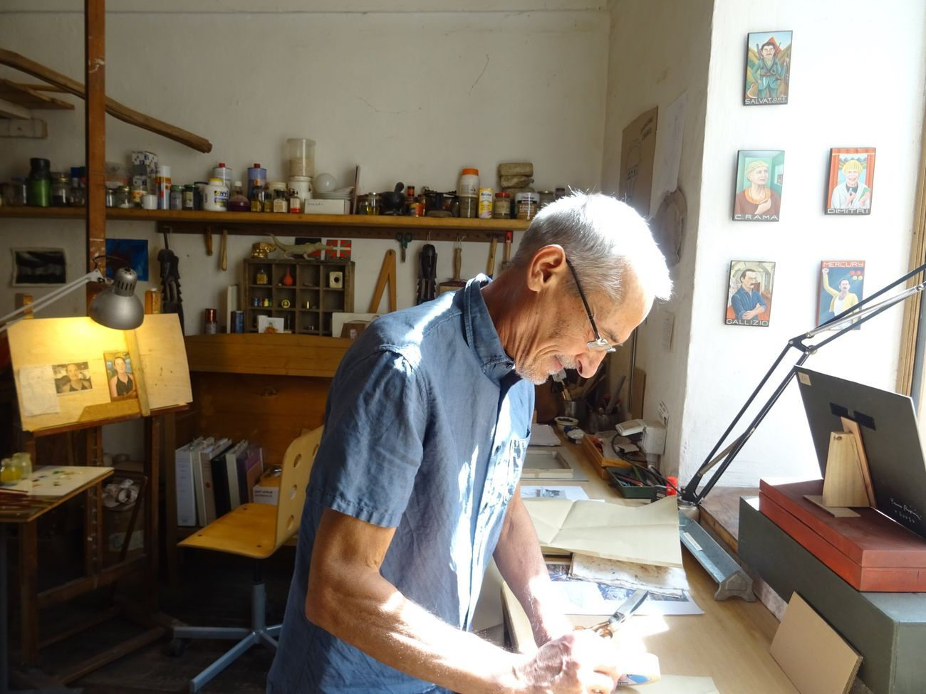 Franco Biagioni nel suo studio, Cuneo, luglio 2019, photo Luca Arnaudo
