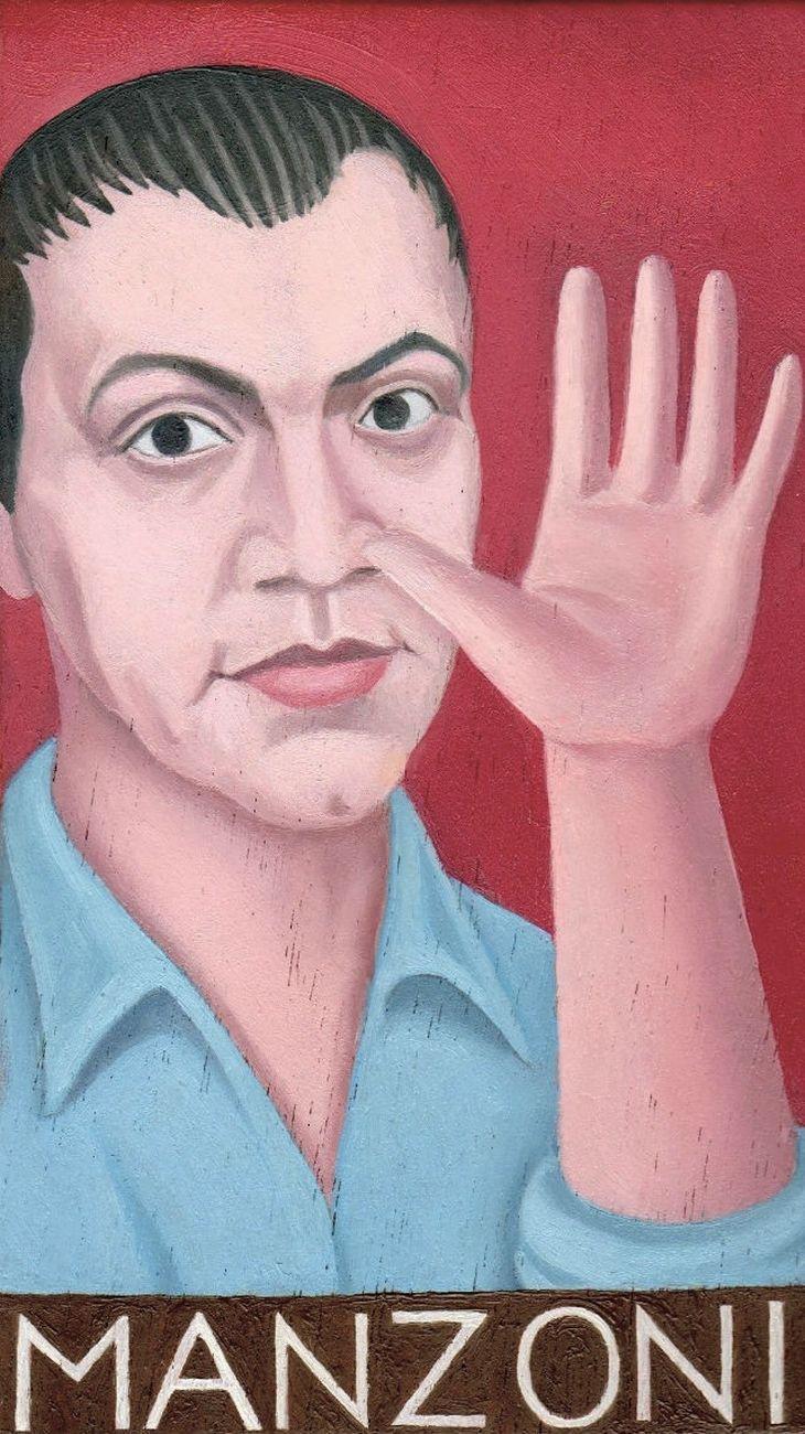 Franco Biagioni, Piero Manzoni (olio su tavola, 2018, cm10x15)
