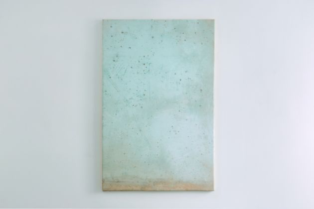 Lawrence Carroll Grotte Paintings 2017 House paint and dust on canvas on wood 158 x 105 x 4 cm / 62 1/4 x 41 1/3 x 1 1/2 in Signed and dated verso: Carroll 2017 LC/M 133 © Lucy Jones Carroll Courtesy Galerie Karsten Greve Köln Paris St. Moritz