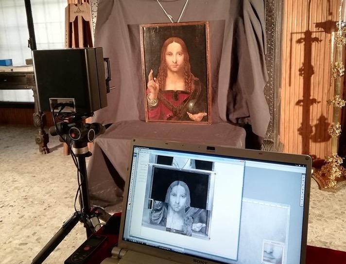 Leonardo da Vinci (attr.), Salvator Mundi. Foto scattata durante la campagna di indagini diagnostiche della società Emmebi srl