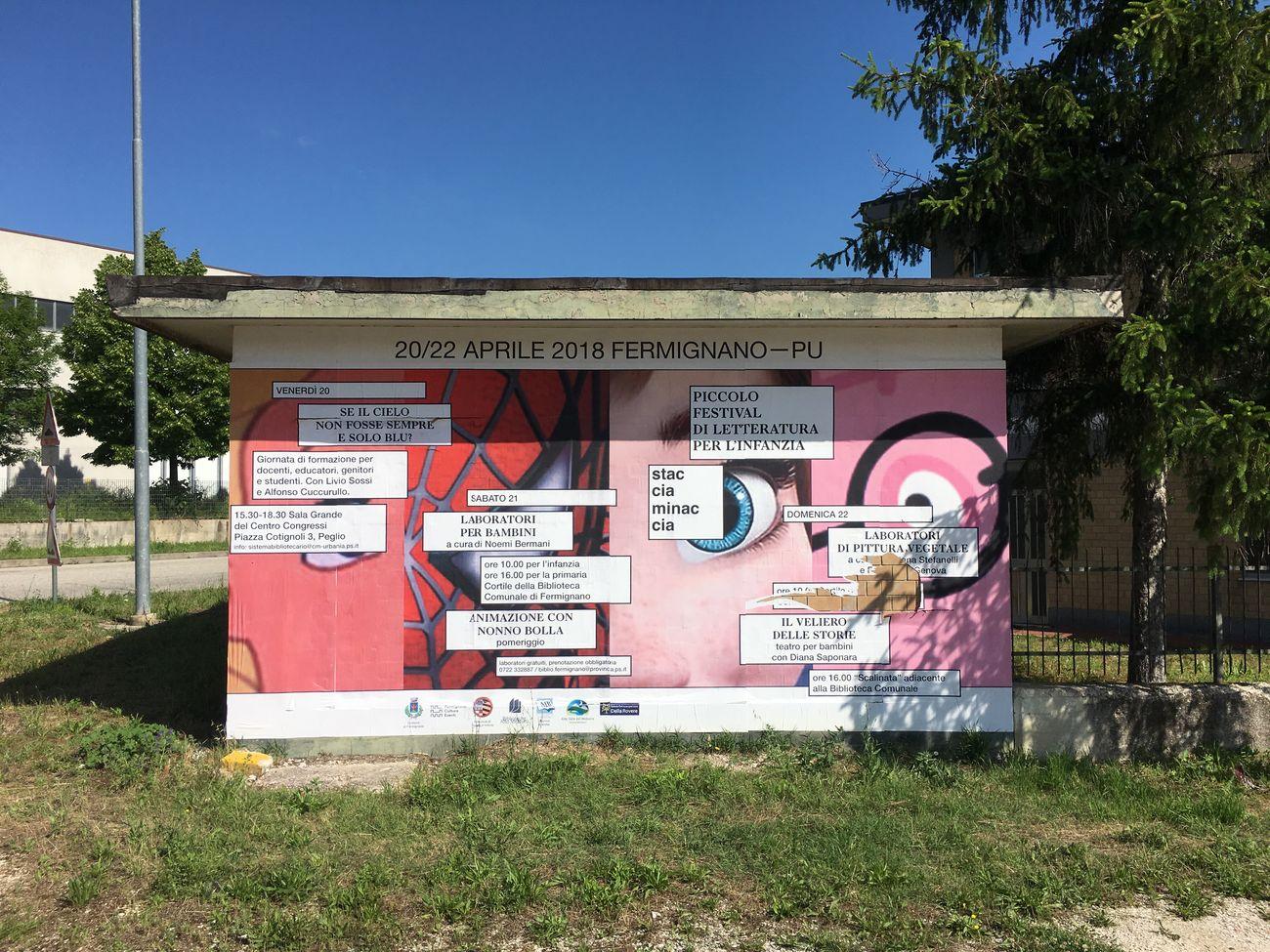 Jonathan Pierini, Campagna affissioni per Stacciaminaccia, Piccolo Festival di Letteratura per l'Infanzia, Comune di Fermignano (PU), 2018