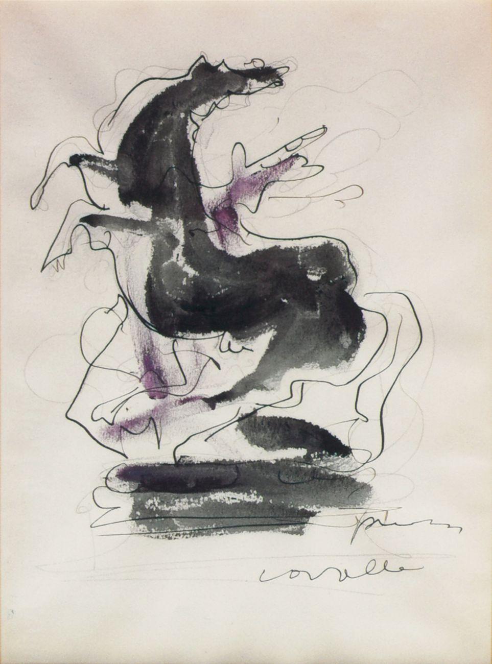 Lucio Fontana, Cavallo, 1954, inchiostro, matita e tempera su carta, 34x25 cm, Collezione privata, Milano