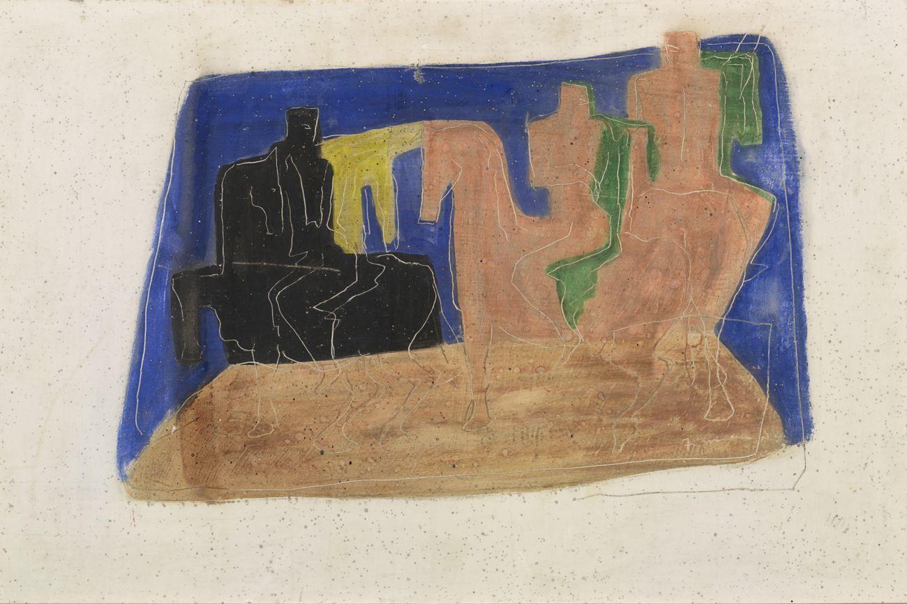 Lucio Fontana, Uomini a cavallo (Composizione), 1932, gesso graffito e colorato a tempera, 37x47,5 cm, Museo del Novecento, Milano