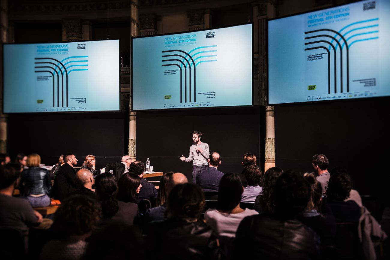 New Generations Festival, Roma 2017. Gianpiero Venturini, curatore del Festival New Generations, introduce la quinta edizione, intitolata Architects VS Rest of the World. Photo credit © Giordano Solimando