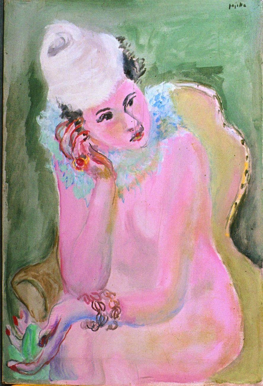 Guido Pajetta, Nudo rosa con cappello, 1944